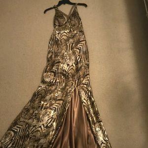 La femme prom gown patterned